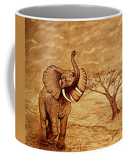 Elephant Majesty Original Coffee Painting Coffee Mug