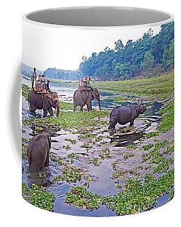 Elephants And Black Rhinoceros In The Rapti River In Chitwan Np-nepal Coffee Mug