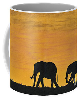 Elephants - At - Sunset Coffee Mug