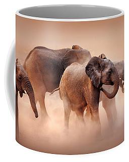 Elephants In Dust Coffee Mug