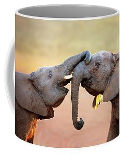 Elephants Touching Each Other Coffee Mug