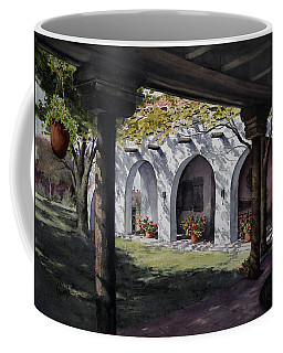 Coffee Mug featuring the painting Elfrida Courtyard by Sam Sidders