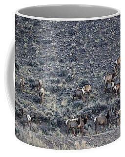 Coffee Mug featuring the photograph Elk Herd On A Hillside Panoramic - 12x54.5 by J L Woody Wooden