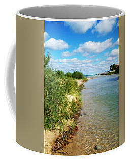 Elk River With Fluffy Clouds Coffee Mug