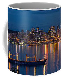 Elliott Bay Seattle Skyline Night Reflections  Coffee Mug by Mike Reid