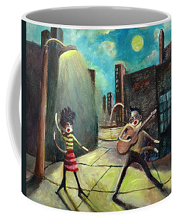 Elvis And Phyllis Diller Meet In St. Louis On A Moonlit Night As Sock Monkeys Coffee Mug by Randy Burns