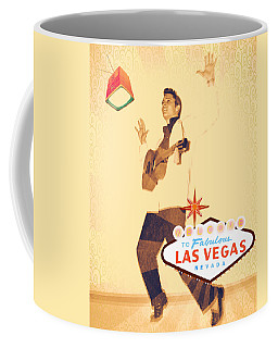 Coffee Mug featuring the mixed media Elvis On Tv by Michelle Dallocchio