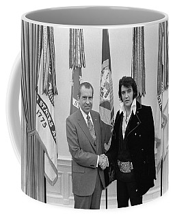 Elvis Presley And Richard Nixon-featured In Men At Work Group Coffee Mug