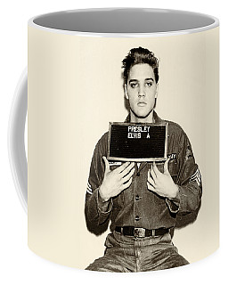 Elvis Presley - Mugshot Coffee Mug by Bill Cannon