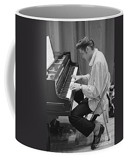 Elvis Presley On Piano While Waiting For A Show To Start 1956 Coffee Mug