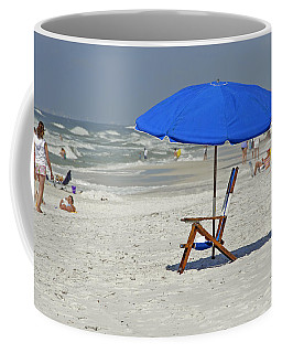 Coffee Mug featuring the photograph Empty Beach Chair by Charles Beeler