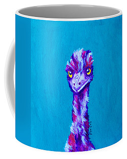 Coffee Mug featuring the painting Emu Turquoise by Margaret Saheed