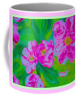 Coffee Mug featuring the mixed media Energy Of Art. Wild Roses by Oksana Semenchenko