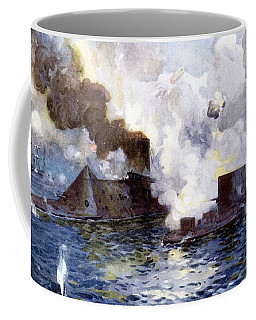Engagement Between The Confederate Ironclad Merrimac Also Called Virginia And Monitor Coffee Mug
