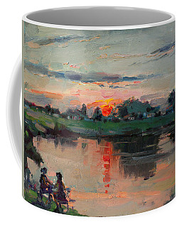 Enjoying The Sunset By Elmer's Pond Coffee Mug