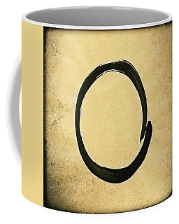 Enso #4 - Zen Circle Abstract Sand And Black Coffee Mug