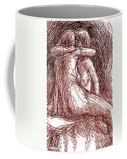 Coffee Mug featuring the drawing Erotic Drawings 19-2 by Gordon Punt