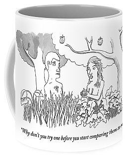 Eve Hands An Apple To Adam In The Garden Of Eden Coffee Mug