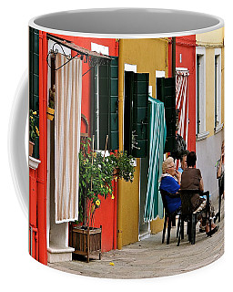 Coffee Mug featuring the photograph Evening In Burano by Ira Shander