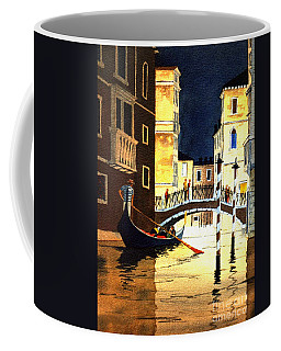 Coffee Mug featuring the painting Evening Lights - Venice by Bill Holkham