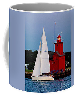Evening Sail At Holland Light Coffee Mug by Nick Zelinsky