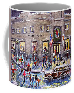 Coffee Mug featuring the painting Evening Shopping At Grover Cronin by Rita Brown