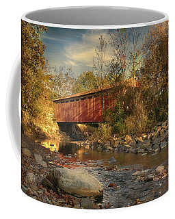 Everett Rd Summit County Ohio Covered Bridge Fall Coffee Mug