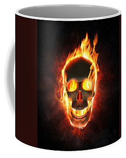 Evil Skull In Flames And Smoke Coffee Mug