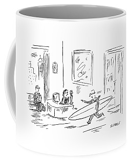 Executive Running From His Office With Surfboard Coffee Mug