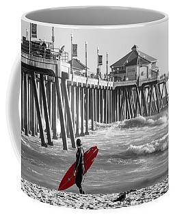 Existential Surfing At Huntington Beach Selective Color Coffee Mug