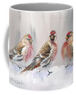 Snowy Birds - Eyeing The Feeder 2 Alaskan Redpolls In Winter Scene Coffee Mug