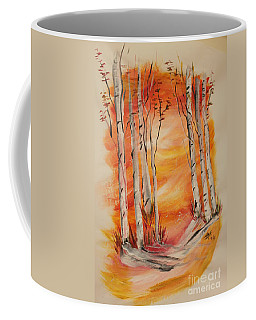 Coffee Mug featuring the painting Fall Aspen On Paper by Janice Rae Pariza