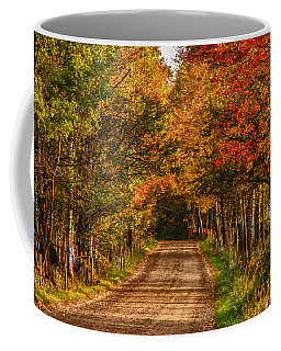 Coffee Mug featuring the photograph Fall Color Along A Dirt Backroad by Jeff Folger