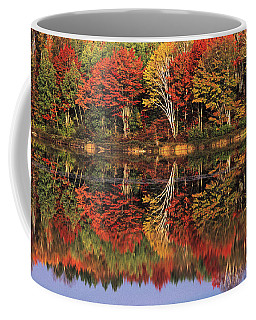 Coffee Mug featuring the photograph Fall Color Reflected In Thornton Lake Michigan by Dave Welling