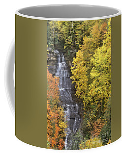 Coffee Mug featuring the photograph Fall Color Surrounds Chapel Falls On The Michigan Upper Peninsula by Dave Welling