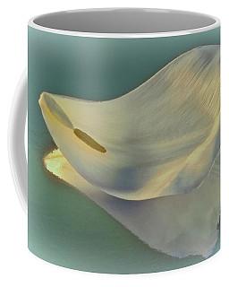 Fallen White Petal On Aqua Coffee Mug