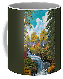 Coffee Mug featuring the painting Rushing Waters  Falls  by Sharon Duguay