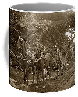 Family Out Carriage Ride On The 17 Mile Drive In Pebble Beach Circa 1895 Coffee Mug