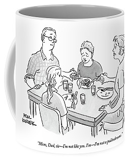 Family Sits Around Dinner Table.  One Daughter Coffee Mug