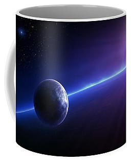 Fantasy Earth And Moon With Colourful  Sunrise Coffee Mug