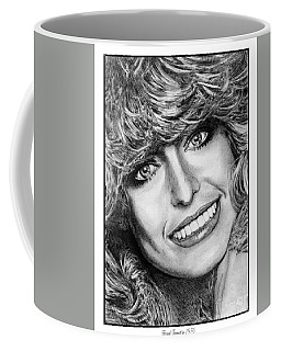 Coffee Mug featuring the drawing Farrah Fawcett In 1976 by J McCombie