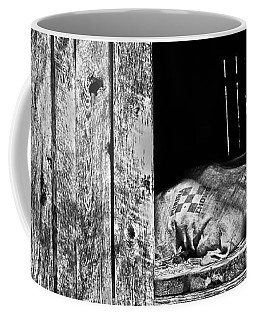 Coffee Mug featuring the photograph Feed Sack In Loft  Bw by Greg Jackson
