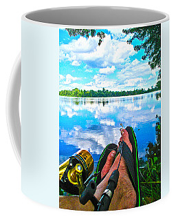 Feet Up Fishing Crab Orchard Lake Coffee Mug