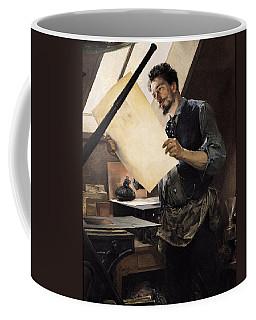 Felicien Rops 1833-98 In His Studio Oil On Canvas Coffee Mug