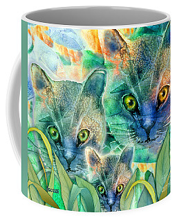 Coffee Mug featuring the painting Feline Family by Teresa Ascone