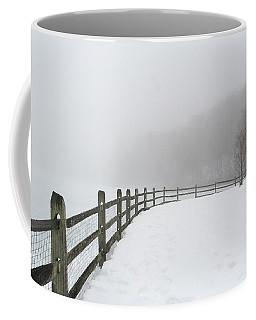 Fence In Fog Coffee Mug