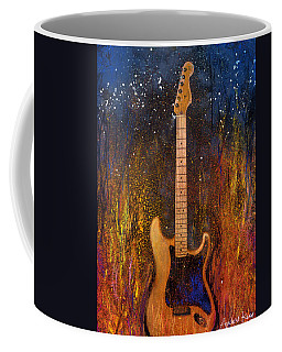 Coffee Mug featuring the painting Fender On Fire by Andrew King