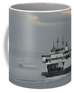 Ferries Pass In The Fog Coffee Mug