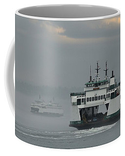 Ferries Pass In The Fog Coffee Mug