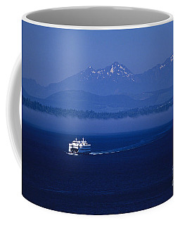 Ferry Boat In Puget Sound With Olympic Mountains Coffee Mug